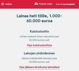 bank norwegian lainaa
